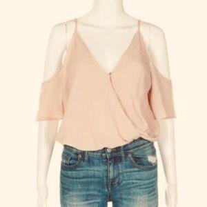 Eyeshadow blush pink cold shoulder v-neck bodysuit